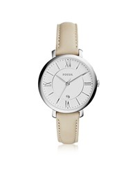 Fossil Jacqueline Stainless Steel Women's Watch W Leather Band Ivory