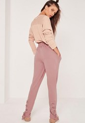 Missguided Petite Lace Up Front Joggers Pink Mauve