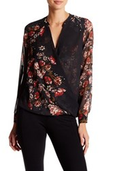 Kut From The Kloth Wrap Front Floral Long Sleeve Blouse Black