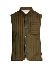 Moncler Gamme Bleu Logo Patch Quilted Down Gilet Green