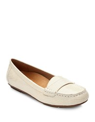 Vionic Larun Embossed Leather Loafers Ivory