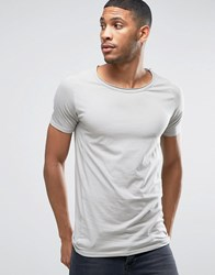 Liquor And Poker Muscle Fit T Shirt Raw Hem Scoop Neck Grey