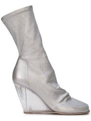 Rick Owens Wedge Mid Calf Boots Silver