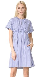 Victoria Beckham Striped Empire Dress Royal Blue
