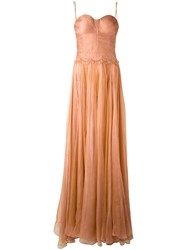 Maria Lucia Hohan Bustier Sheer Gown Pink Purple