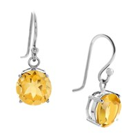 Bijouxx Jewels 8Mm Gemstone Drop Earrings In Sterling Silver Citrine