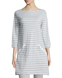 Joan Vass Striped Interlock Tunic Gray White Cloud Heather