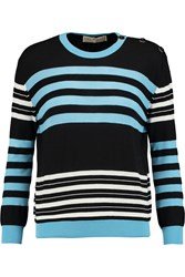 Emilio Pucci Button Embellished Wool Cotton And Silk Blend Sweater Black