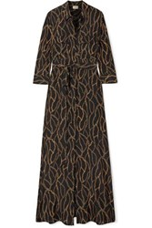 L'agence Cameron Printed Silk Crepe De Chine Maxi Dress Black