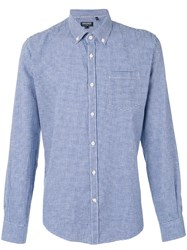 Woolrich Checkered Shirt Men Cotton Linen Flax M Blue