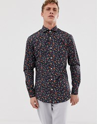 Selected Homme Slim Shirt With All Over Bird Print In Natural Stretch Cotton Navy