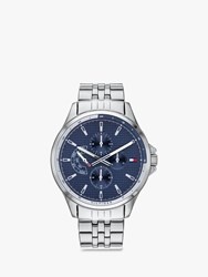 Tommy Hilfiger 'S Casual Chronograph Bracelet Strap Watch Silver Blue 1791612