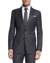 Armani Collezioni G Line New Basic Sharkskin Two Piece Wool Suit Charcoal