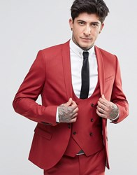 Noose And Monkey Super Skinny Suit Jacket With Stretch Raspberry Red