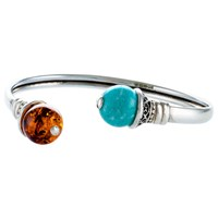 Be Jewelled Amazonite And Amber Open Cuff Cognac Cyan Green