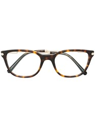 Bulgari Square Frame Glasses Brown