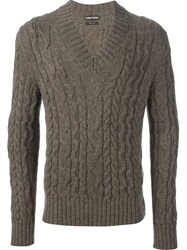 Tom Ford Cable Knit Sweater Brown