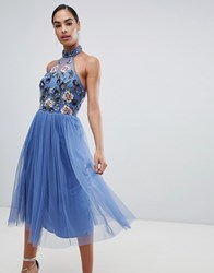 Maya Floral Embellished Halter Neck Dress Blue