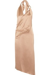 Haney Ali Draped Wrap Effect Silk Satin Midi Dress Sand
