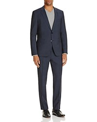 Hugo Tonal Box Check Regular Fit Suit Navy