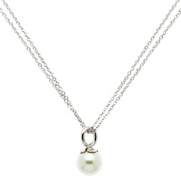 Finesse Rhodium Plated Faux Pearl Pendant Necklace Silver