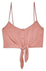 Topshop Knot Front Crop Camisole Top Pink