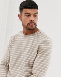 Native Youth Long Sleeve Top In Taupe With Stripe Brown