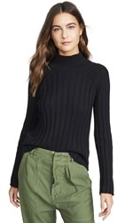 Bop Basics Wide Rib Turtleneck Sweater Black
