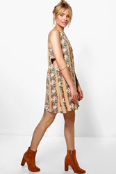 Boohoo Floral Tabard Shift Dress Cream
