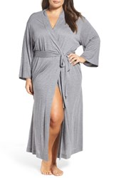 Natori Plus Size Women's Shangri La Robe Heather Grey