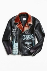Urban Outfitters Custom Hand Painted Faux Leather Jacket Black Multi