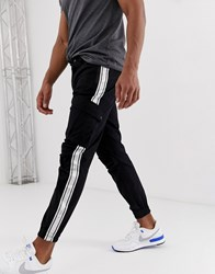 Sik Silk Siksilk Cargo Pants In Black With Side Stripe
