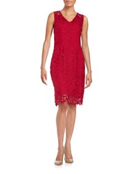 T Tahari Crochet Shift Dress Cardinal