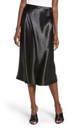 Love Fire Satin Midi Skirt Black