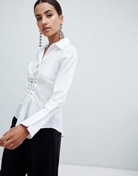 Ax Paris Long Sleeve Shirt With Corset Detail White