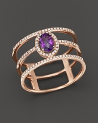 Bloomingdale's Diamond And Amethyst Geometric Ring In 14K Rose Gold Pink Purple