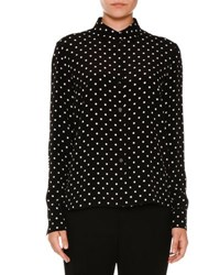 Stella Mccartney Polka Dot Silk Blouse W Striped Back Black