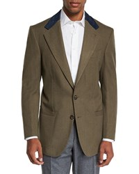 Stefano Ricci Campagna Wool Sport Jacket With Suede Details Green