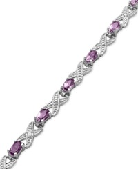 Victoria Townsend Sterling Silver Bracelet Amethyst 3 Ct. T.W. And Diamond Accent Bracelet