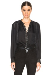 Isabel Marant Alivia Evening Beaded Georgette Blouse In Black