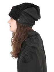 Cutuli Cult Textured Fur And Leather Beanie