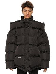 Vetements Upside Down Down Jacket W Logo Patch Black