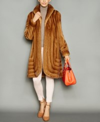 The Fur Vault Shawl Collar Mink Coat Whiskey