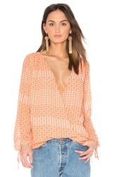 L'academie The Long Sleeve Wrap Blouse Pink