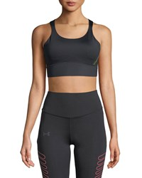 Under Armour Breathelux Perforated Mid Performance Sports Bra Black