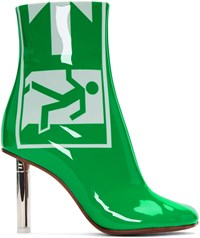 Vetements Green Patent Exit Lighter Boots