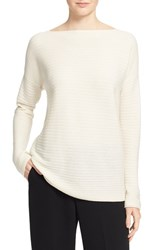 Vince Women's Boatneck Horizontal Rib Cashmere Sweater Off White