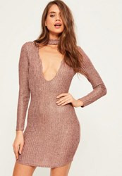 Missguided Pink Knitted Rib Choker Neck Bodycon Dress