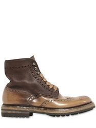 Santoni Washed Leather Brogue Combat Boots