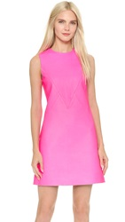 Victoria Beckham Leather A Line Shift Dress Neon Pink